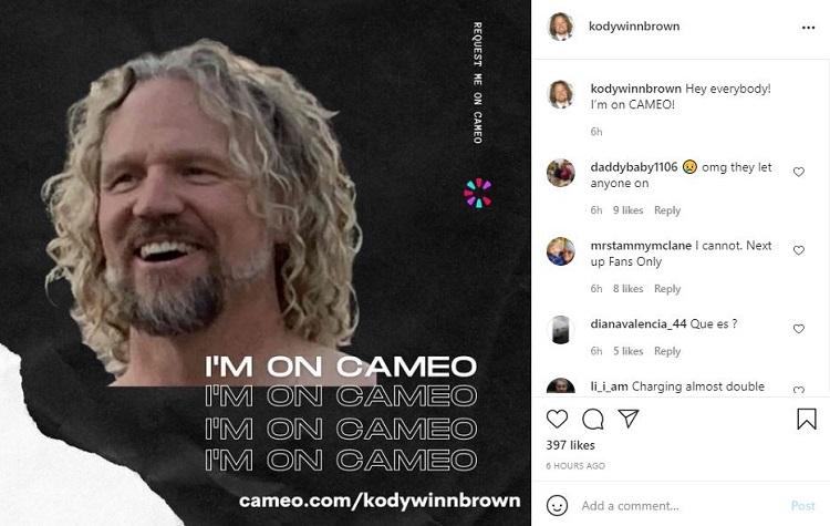 Kody Brown Post Instagram